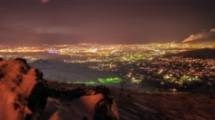 Night winter view of the the Ust-Kamenogorsk city Stock Footage