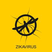 Zika mosquito vector. Virus alert. Aedes Aegypti isolated on yellow background Stock Illustration