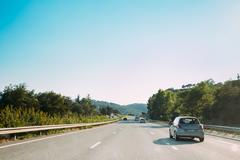 The movement of vehicles on freeway, motorway A8 near Mandelieu - stock photo