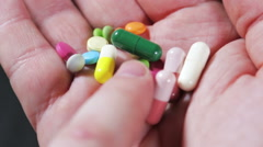 Color medicines and pills Stock Footage