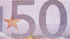 Euro banknotes closeup Stock Footage
