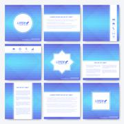 Blue set of square template brochure. Business, science, medicine and technology - stock illustration