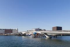 Inner Harbour pedestrian and cyclist bridge in Copenhagen, Denmark Stock Photos