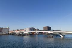 Inner Harbour pedestrian and cyclist bridge in Copenhagen, Denmark - stock photo