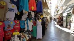 Corfu street market, Kerkyra, Old town Stock Footage