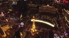 Paris Las Vegas: Eiffel tower, Las Vegas- 4K Night Aerail Footage Arkistovideo