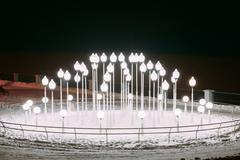 Lanters in Snowy winter city park. Night. Gomel, Belarus - stock photo