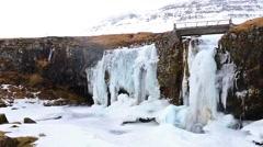 Frozen waterfall Kirkjufellsfoss Stock Footage