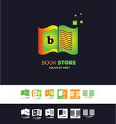 Bookstore open book logo - stock illustration