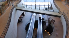 The Atrium in the Black Diamond, the Royal Library in port of Copenhagen. - stock footage