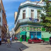 HAVANA, CUBA - APRIL 1, 2012: Aguacate street in old city Stock Photos