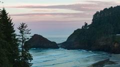 Heceta Head lighthouse at dusk Stock Footage