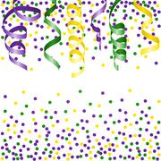 Mardi Gras background with streamers and confetti. Vector illustration. - stock illustration
