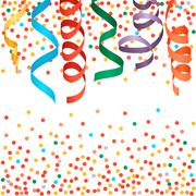 Stock Illustration of Carnival streamers and confetti background. Vector illustration.
