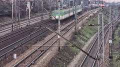 Trains moving on tracks very fast. - stock footage