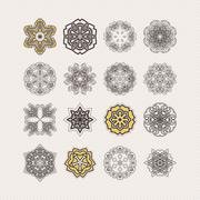Set of ornate mandala symbols. Gothic lace tattoo. Celtic weave with sharp - stock illustration