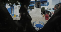 Low To a Wide Angle Of The Most Famous Cafe In Sidi Bou Said Stock Footage