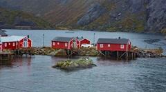 Fishing village in Lofoten Islands, Norway Stock Footage