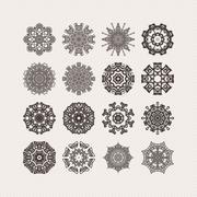 Set of ornate mandala symbols. Gothic lace tattoo. Celtic weave with sharp Stock Illustration