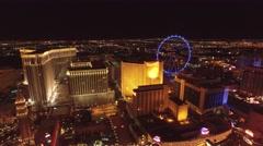 The High Roller and Harrah's Casino , Las Vegas- 4K Night Aerail Footage Stock Footage