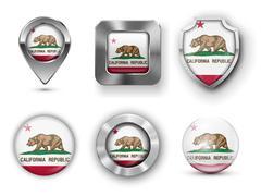 California USA State Flag Badges - stock illustration