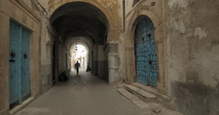 Tilt Shot Of Garnished Doors in the Old City of Tunis, Tunisia Stock Footage
