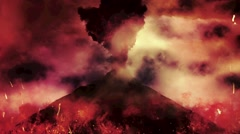 Chaotic Volcanic Eruption with Fire and Flames From a Volcano - stock footage