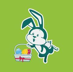 Easter Rabbit Icon Egg Design Flat Stock Illustration