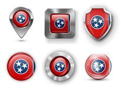 Tennessee USA State Flag Badges - stock illustration