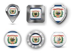 West Virginia USA State Flag Badges - stock illustration