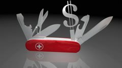 Swiss Army Money Pocket Knife Video Stock Footage