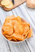 Portion of Rippled Potato Chips Stock Photos