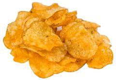 Portion of crispy Potato Chips (selective focus) - stock photo