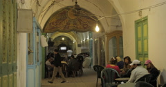 People at a Restaurant in the Old City of Tunis, Tunisia - stock footage