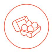 Eggs in carton package line icon - stock illustration
