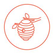 Bee hive line icon - stock illustration