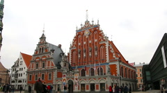 Riga - Latvia: House of the Blackheads and the St. Peter's Church Stock Footage