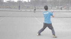 Amateur tennis match on public court (ungraded) Stock Footage