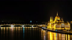 Budapest. Hungarian Parliament building and Margaret bridge at night. Stock Footage