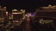 Caesar's Palace and The Bellagio, Las Vegas- 4K Night Aerail Footage - stock footage