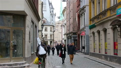 Riga - Latvia: Medieval street in the old Riga city, Latvia. Stock Footage