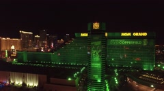 The MGM Grand, Las Vegas- 4K Night Aerail Footage Stock Footage