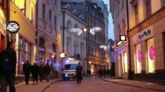 Riga - Latvia: Police car on the street of Old Riga at night Stock Footage