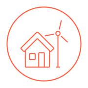 House with windmill line icon Stock Illustration