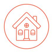 Detached house line icon - stock illustration