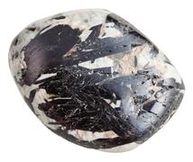 Black Aegirine in Microcline mineral gem stone Stock Photos