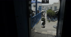 Low To a Wide Angle Of Sidi Bou Said From Inside The Cafe De Delice Stock Footage