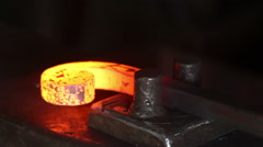 Forging hot metal in smithy, screwing, smashing Stock Footage