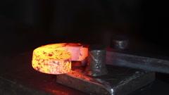 Forging hot metal in smithy, screwing, smashing Stock Footage