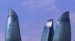 Flame towers in Azerbaijan Stock Footage
